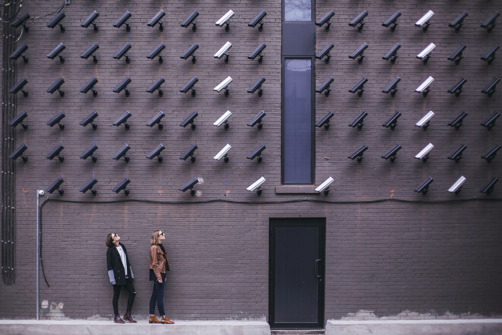 Privacy - Lots of security cameras watching two ladies